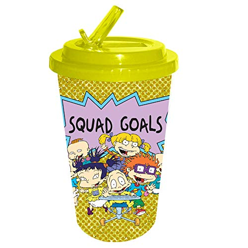 Nickelodeon NI110784G Rugrats Squad Goals Glitter Plastic Flip Straw Cold Cup, 16-Ounce, yellow]()