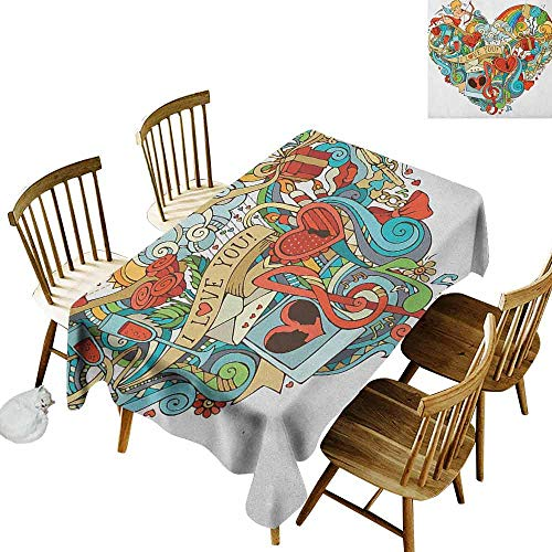 DONEECKL I Love You Waterproof Tablecloth Polyester Tablecloth Love Valentines with Eros Arrow Present Boxes Swirls Balloons Ring Marry Me Multicolor W70 xL120 ()