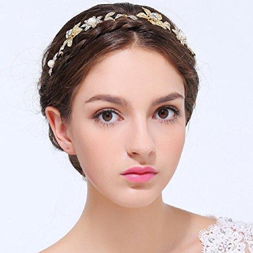Ammei Gold Womens Bridal Headband Flower Leaves Design With Rhinestones Wedding Headpiece