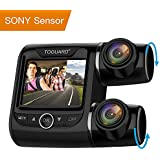 TOGUARD Dual Dash Cam FHD 1080P+1080P Front and Rear View Car Camera 2 LCD 340°Outside and Inside Dual Dashboard Camera with Sony Sensor, Loop Recording, Parking Mode, Motion Detection for Uber Taxi