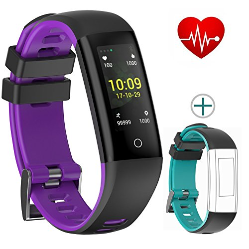 Fitness Tracker Color Display colorful UI touch screen with Heart Rate Monitor Blood Pressure Sleep Monitor IP67 Waterproof Bracelet Wristband for iOS/Android (purple+black)