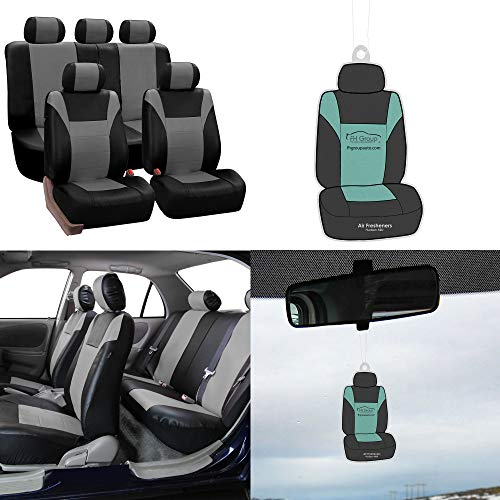 FH-PU003115 Racing PU Leather Car Full Set Seat Covers, Airbag Ready and Split, Gray/Black Color - Fit Most Car, Truck, SUV, or Van