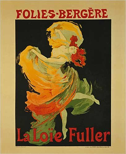 EuroGraphics La Loie Fuller Dance at Folies-Bergere by Jules Cheret. Vintage Advertising Reproduction Poster (16 x 20)