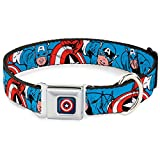 Buckle Down Seatbelt Buckle Dog Collar - Captain America in Action Blue/Red - 1.5'' Wide - Fits 18-32'' Neck - Large