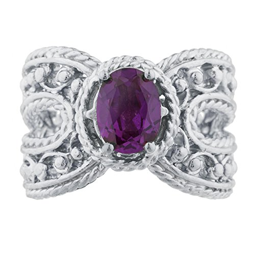 Created Alexandrite Oval Cocktail Design Ring .925 Sterling Silver Rhodium Finish
