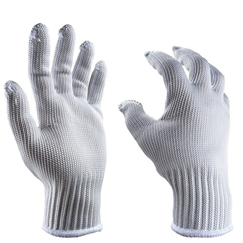 Cut Resistant Gloves - EN388 Level 5 Protection, Stiff Structure, Food Cutting Gloves, Butcher Gloves, Good Safety, Washable (Large, Silver-white)