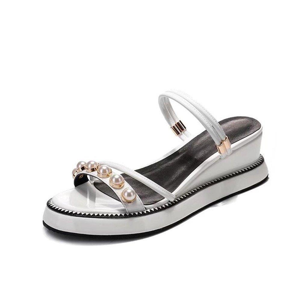 Shymamamiya Sommer Kuh Leder Schuhe Zwei Tragen Sandalen Mode Perle Leder Damenschuhe (Farbe : Weiszlig;, Grouml;szlig;e : 38 2/3 EU)  38 2/3 EU|Wei?