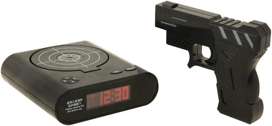 le cible et Pistolet inclus Tera Pistolet Noire matin r/éveil tir Clock Alarme avec le jeu de tir /« BOOM /»