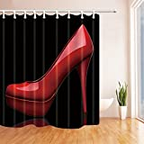 Rrfwq Creative Sex Woman Decor Red High Heels in Black Shower Curtain Mildew Resistant Polyester Fabric Bathroom Bath Curtains Set with Hooks,70.8X70.8 inches