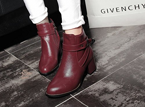 Red Fashion Ankle high Boots Wine Shoes heel Womens High Mee A6nRpvqA
