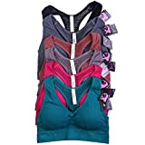 Sofra Women's 6 Pack of Seamless Padded Sports Bras-Perforated