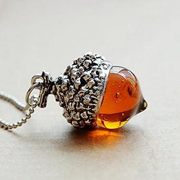 4862b44cb1f3 Collar pendiente de roble (TM) Acorn Top bronce antiguo pendiente de plata  chapado en oro Agua de Cristal de la bellota Nolunt Por regalo de las  mujeres  ...