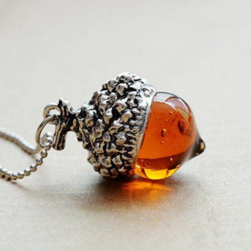- Harlex(TM) Acorn Top Pendant Antique Bronze Silver Gold Plated Water Drop Glass Acorn Oak Pendant Necklace For Women Gift