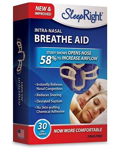 (SleepRight Intra-Nasal Breathe Aids Breathing Aids for Sleep Nasal Dilator 30 Day - 2 Pack)