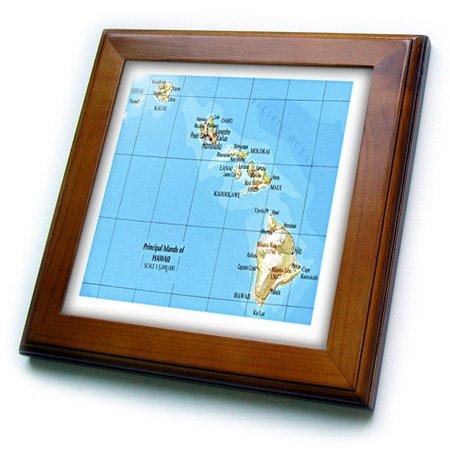 "3dRose ft_41576_1 Map of Hawaiian Islands Framed Tile, 8 by 8"""