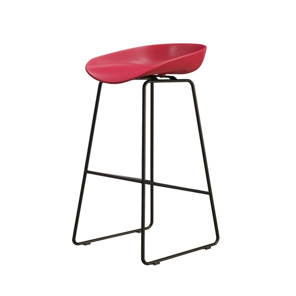 Red 65cm Backless Chairs Set Plastic Stool Large Seats Bar Stools Bar Chairs Metal High Stools Modern Nordic Simple for Breakfast Pub Counter Kitchen Cafe