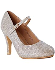 Guilty Heart Women's Almond Toe Comfortable Mid Kitten Heel Mary Jane Faux Suede Pump Shoes