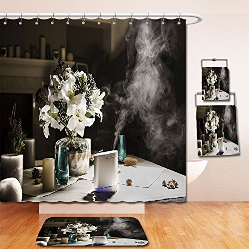 Beshowereb Bath Suit: Showercurtain Bathrug Bathtowel Handtowel humidifier on the table near to bouquet of flowers in home interior 560940244