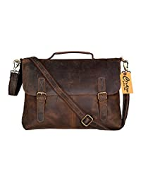"KK's Leather 16"" inch Rustic Vintage Leather Messenger Bag Laptop Bag Briefcase Satchel Bags for Men and Women"