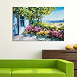 wall26 Canvas Wall Art of Small House on Beautiful Flowery Plain Oil Painting | 32'' x 48''