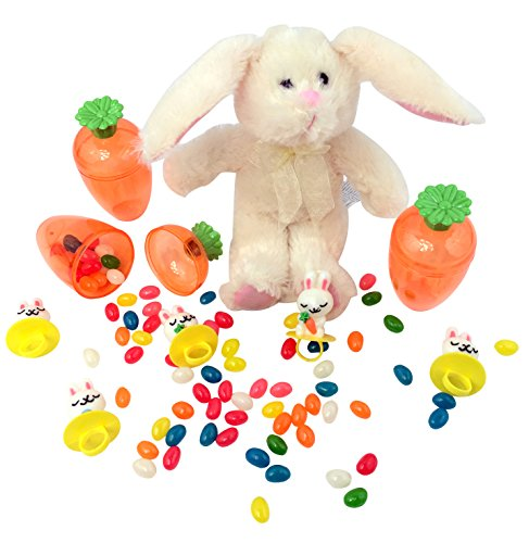 - Bunny Garden Easter Bundle: 4 Items - 1 Plush Rabbit, 3 Large Fillable Carrot Shaped Eggs, 5 Lollipop Rings and 1 Pack of Jelly Beans