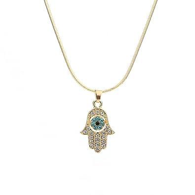 Amazon.com  Meiligo Fashion Womens Hip-hop Blue Evil Eye Necklace Jewelry  Rhinestone Protective Hand of Fatima Palm Pendant Necklace (Gold)  Jewelry 3fa669f91