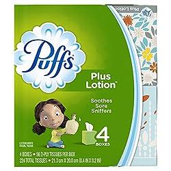 Puffs Plus Lotion Facial Tissues, 4 Cubes, 56 Tissues Per Box