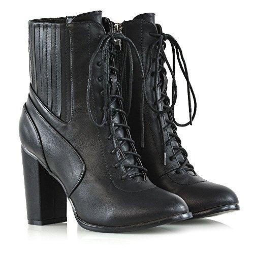 Essex Glam Kvinners Chunky Hæl Ankel Boots Snøre På Glidelås Elastisk Ankelsokker Svart Kunstskinn