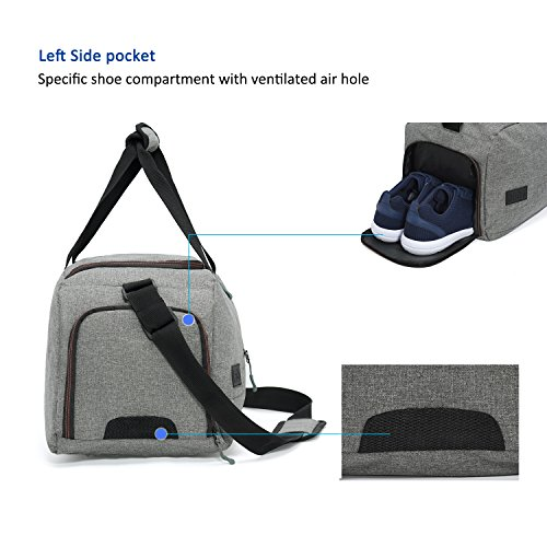 MarsBro Water Resistant Sports Gym Travel Weekender Duffel Bag with Shoe Compartment Grey by MarsBro (Image #4)