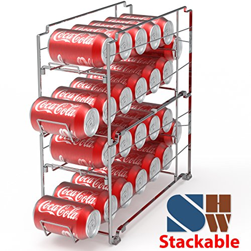 2 Pack - SimpleHouseware Stackable Front Loading Beverage Can Dispenser Rack, Chrome by Simple Houseware (Image #1)