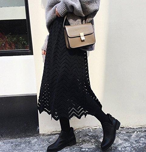 Mujer Largo Maxi Falda De Noche Fiesta Boda plisado Faldas Largas De Encaje Un tamaño Blanco Negro