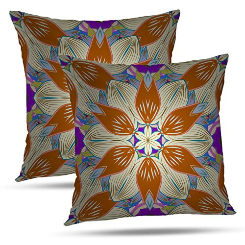- Batmerry Spring Pillows Decorative Throw Pillow Covers 18x18 Inch Set of 2, Ethnic Design Marine with Flowers Seashells Mandalas and Double Sided Square Pillow Cases Pillowcase Sofa Cushion