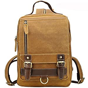 LZRDZSWYXGS Retro Wild Horse Leather Men's Backpack/Multifunctional Outside Travel Backpack Leather Student Bag Suitable for outings/Hiking/Schools (Color : Beige)