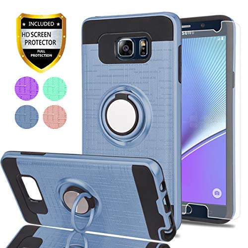 Note 5 Case,Galaxy Note 5 Case with HD Phone Screen Protector,Ymhxcy 360 Degree Rotating Ring & Bracket Dual Layer Resistant Back Cover for Samsung Galaxy Note 5-ZH Metal Slate