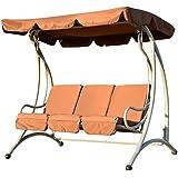 Balancelle balançoire fauteuil de jardin en acier 3 place charge max. 340kg chocolat neuf90