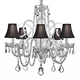 5 Light Venetian Style Modern Crystal Chandelier with Dark Shades
