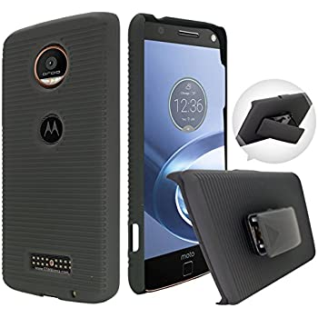 Moto Z Force Case, Customerfirst, Rugged Impact Armor Hybrid Kickstand Cover with Belt Clip Holster Case for Lenovo Moto Z Force 5.5-inch Free Emoji keychain (Simply Black)