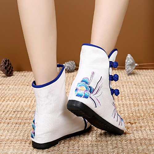 Cuarenta Aumento Martin Blanco Viejos Beijing Femenina Thirty Bordado Botas Casual Cortas Botas De KHSKX Zapatos Estilo Folk Botas five Boots 8nTqwwgfa