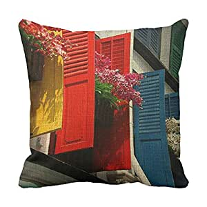 lettert Colorful 20x 20Funda de almohada Funda de almohada Inicial Colorful Windows rústico Lino Throw fundas de almohada