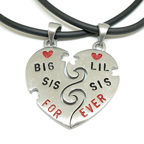 Hello Kitty Costume For Adults Plus Size (BIG SIS LIL SIS II Split Heart Pewter Pendant Choker + 2x 18