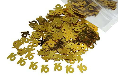 (Gold Number 16 16th Anniversary Or Birthday Table Sequins Confetti for DIY Crafts And Party Supplies 1 Ounce by ZXSWEET)