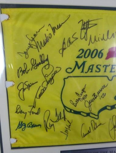 Masters Champs Autographed Framed Golf Flag 25 Sigs Palmer Nicklaus #Z10707 JSA Certified Autographed Pin Flags
