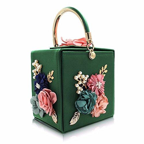 SSMENG Bolso de hombro Bolsos azules del bolso de tarde de las señoras del embrague de la boda del bolso de las mujeres de la flor, D D