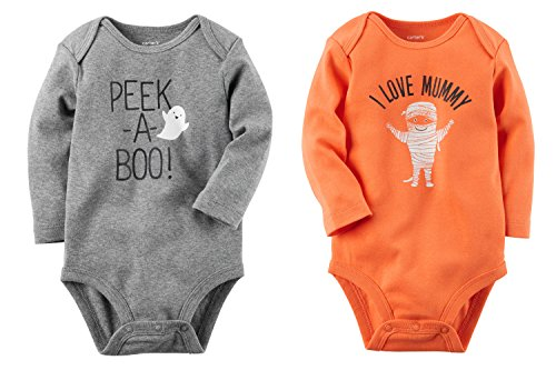Carter's Baby Boys or Girls 2 Pack Halloween Long Sleeve Bodysuit Set (6 Months, Grey