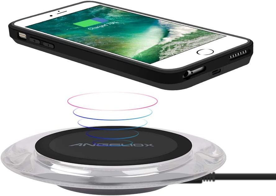 """Qi Wireless Charger with Qi Wireless Charging Case for iPhone 7/6s/6(4.7""""- for Regular Size) ANGELIOX 10W Wireless Charging Mat Base for iPhone Xs Max/X/ 8,Galaxy Note 9/8/S9/S8"""