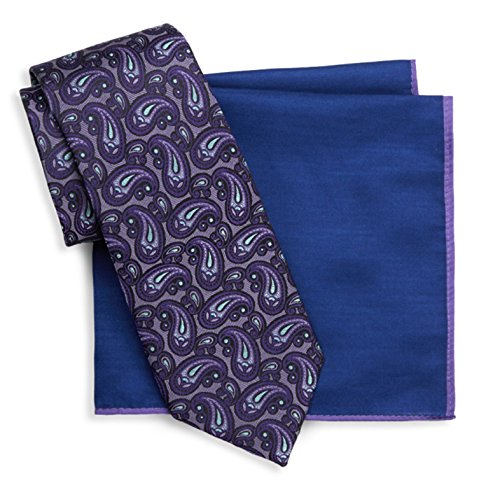 Ted Baker London Two-Piece Paisley Silk Tie and Pocket (Purple)