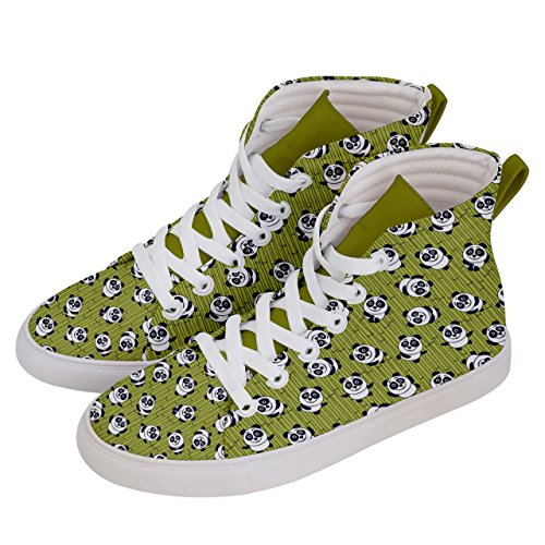 Skate Shoes Top Green amp; Panda Fun Womens Hi Balloons Olive Sneakers CowCow Pattern 0w84qw