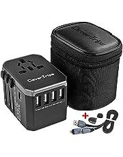 CleverTrips™ Universele reisadapter reisstekker alles in een wereldwijde internationale oplader netstekker reisadapter met 5,6 A Smart Power USB en 3,0 A USB Type-C voor USA EU UK uit (zwart)