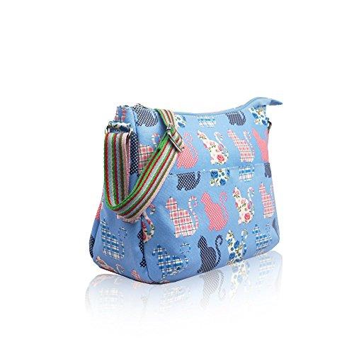 Tote Messenger Bag YDezire® Women Cat Shoulder Blue Ladies Oilcloth Satchel Womens Body Cross Handbag Light Butterfly Ypxv0