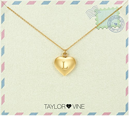 Engraved Vine - Love Letter Initial Necklace Heart Pendant Engraved I Love You, 16